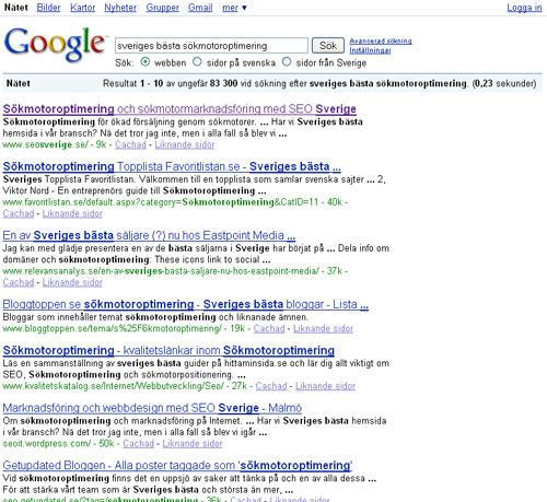 Sveriges bästa sökmotoroptimering